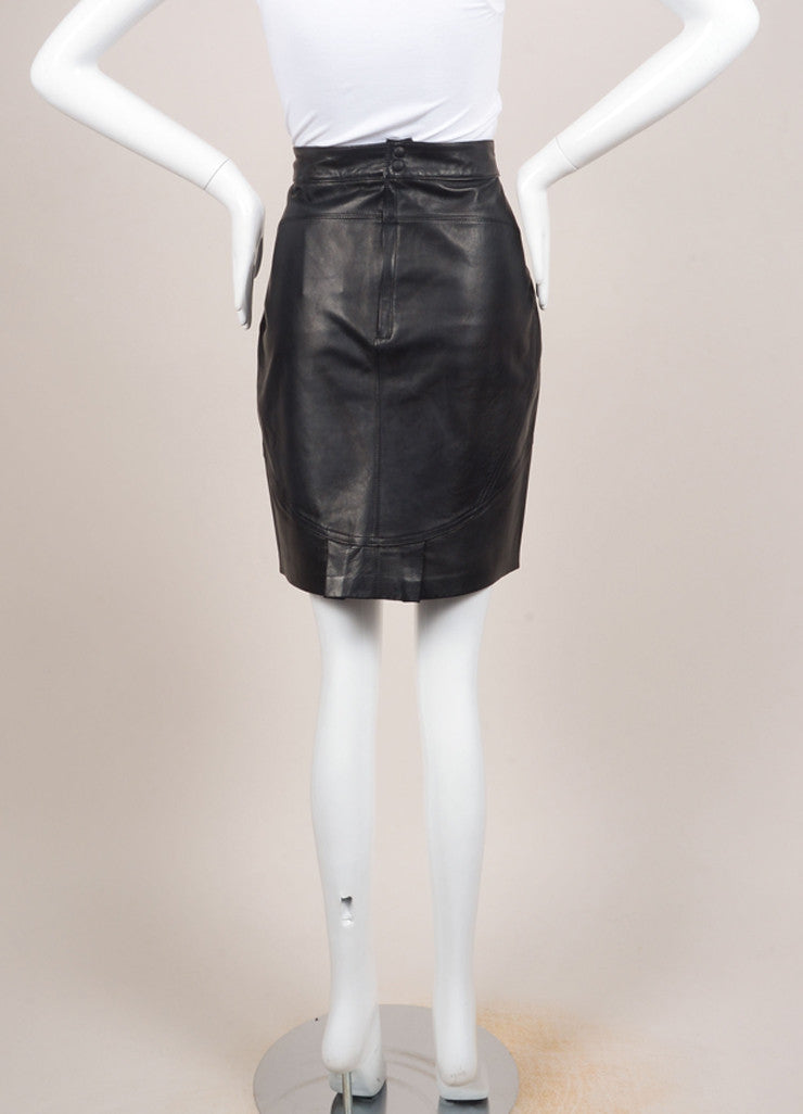 T by Alexander Wang New With Tags Black Leather Paneled Pencil Skirt Backview