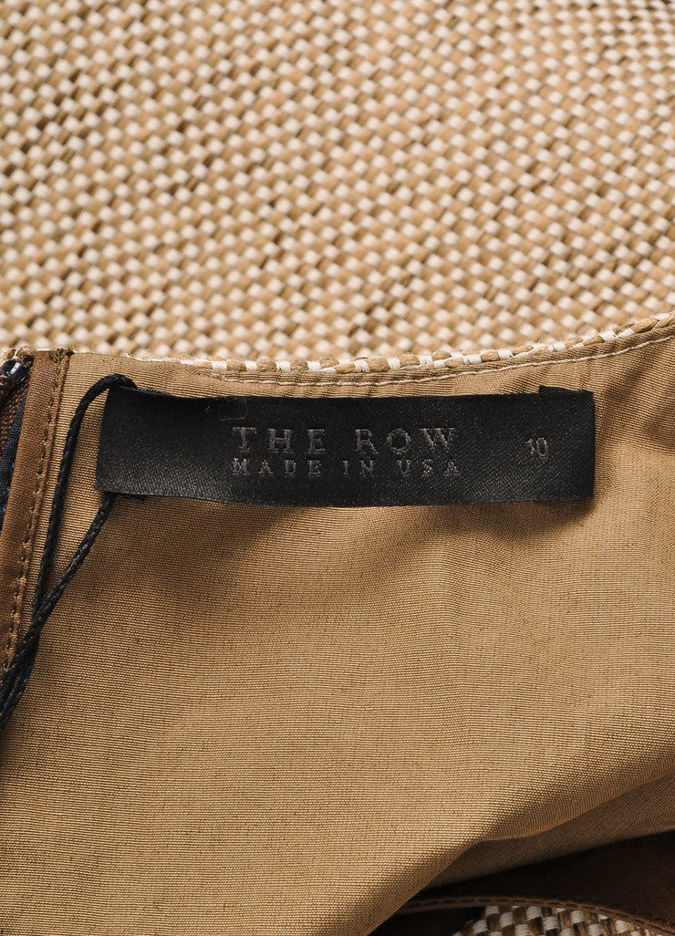"The Row New With Tags Brown and Beige Coated Tweed Overlay ""Lia"" Combo Dress Brand"