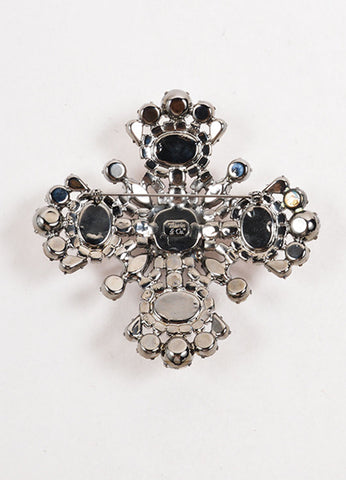 Thorin & Co. Silver Clear Red Maltese Cross Brooch Back