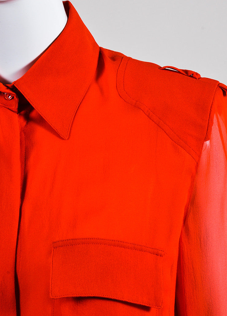 Tom Ford Red Silk Button Down Long Sleeve Blouse Detail