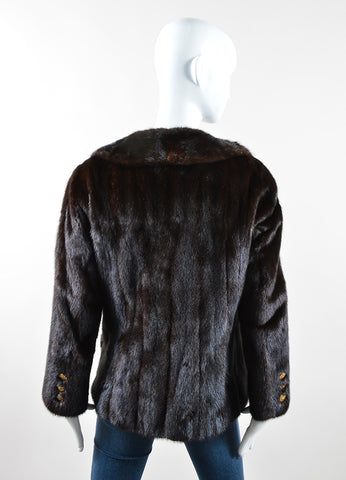 Bonwit Teller Brown Fur Eagle Button Flap Pocket Short Coat Backview