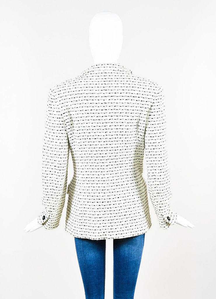 White & Black Chanel Boutique Textured Knit Buttoned Jacket Back