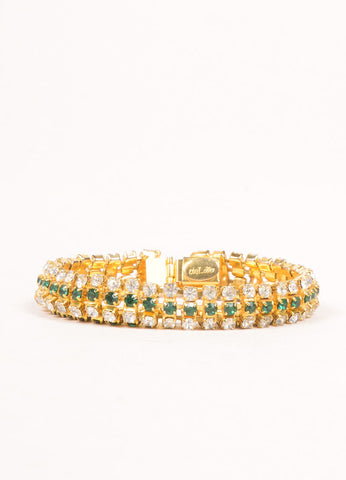 DeLillo Gold Toned and Green Rhinestone Bracelet Frontview
