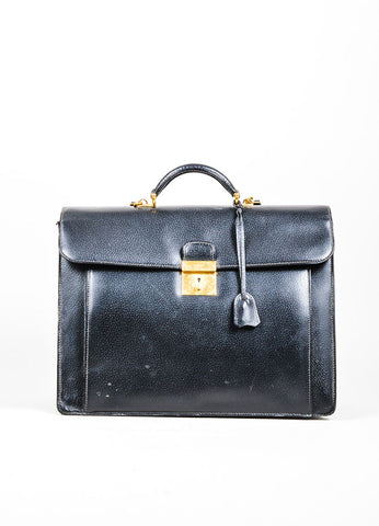 Men's Gucci Black Leather Top Handle Satchel Briefcase Bag Frontview