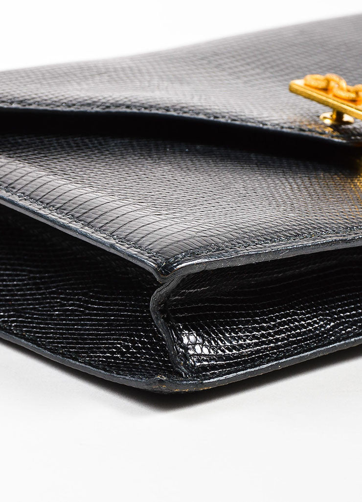 "Hermes Black Lizard Gold Toned Metal Chain ""Alcazar"" Shoulder Bag Detail"