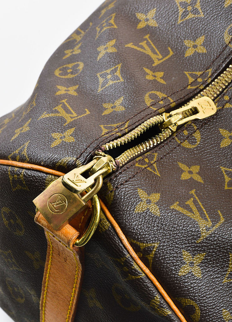 "Louis Vuitton Brown and Tan Coated Canvas and Leather Monogram ""Keepall 60"" Bag Detail 3"