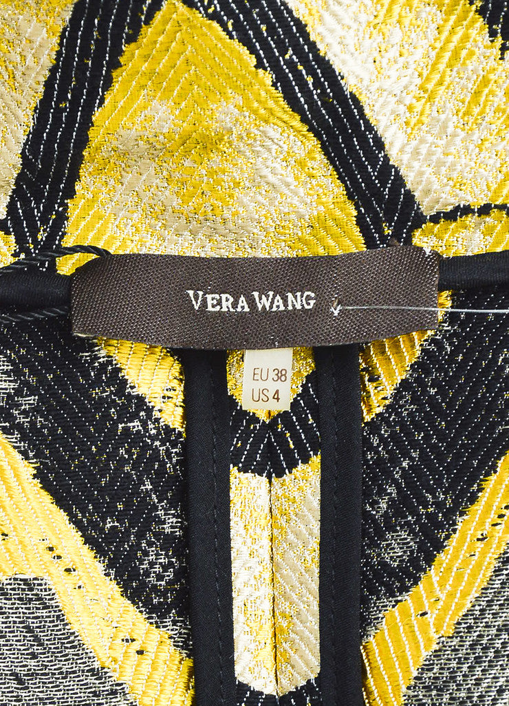 Black & Yellow Vera Wang Floral Print Brocade Cropped Jacket Brand