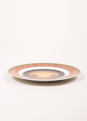 "Versace Rosenthal Red, Black, and Gold Toned ""Medusa"" 7 inch Bread and Butter Plate Sideview"