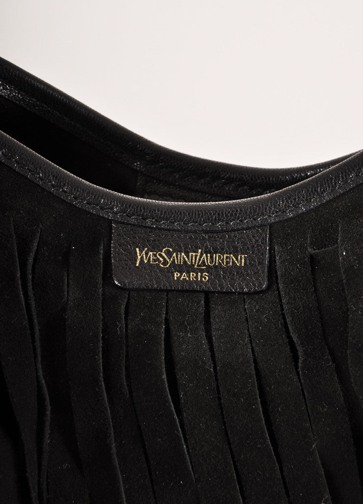 Yves Saint Laurent Black Suede Fringe Small Hobo Shoulder Bag Brand