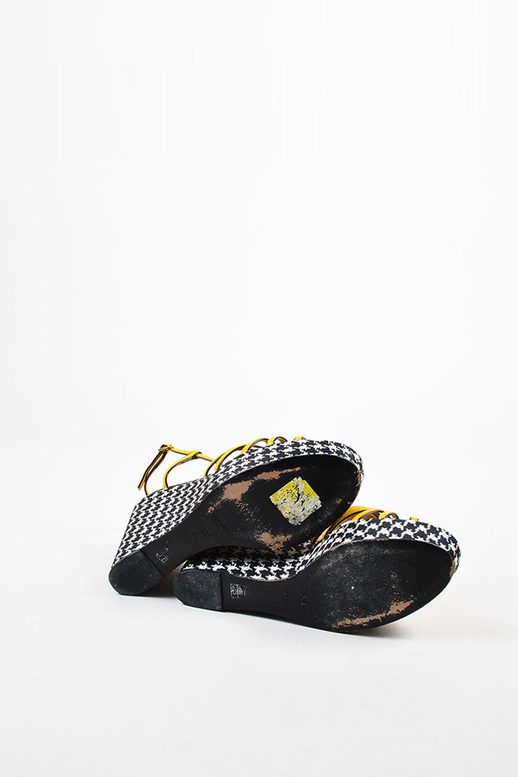Yves Saint Laurent Black White and Yellow Leather Houndstooth Wedges Outsoles