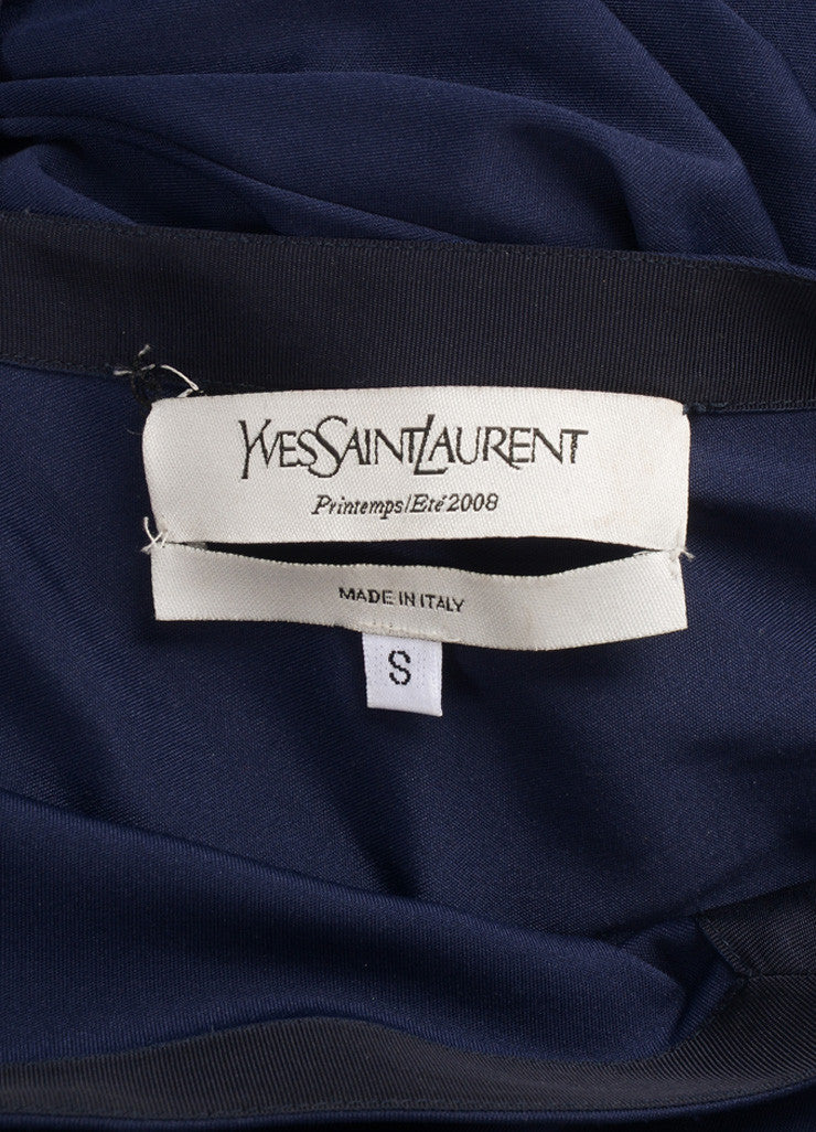 Yves Saint Laurent Blue Sleeveless Draped Gown Brand