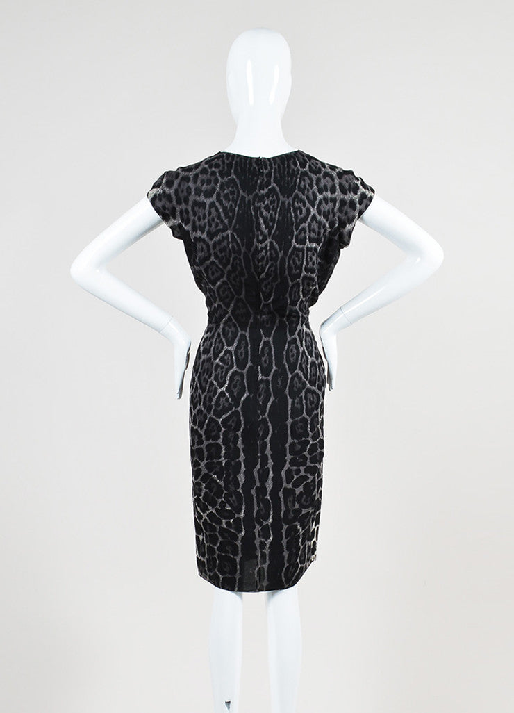 Grey and Black Yves Saint Laurent Chiffon Leopard Print V-Neck Cap Sleeve Dress Backview