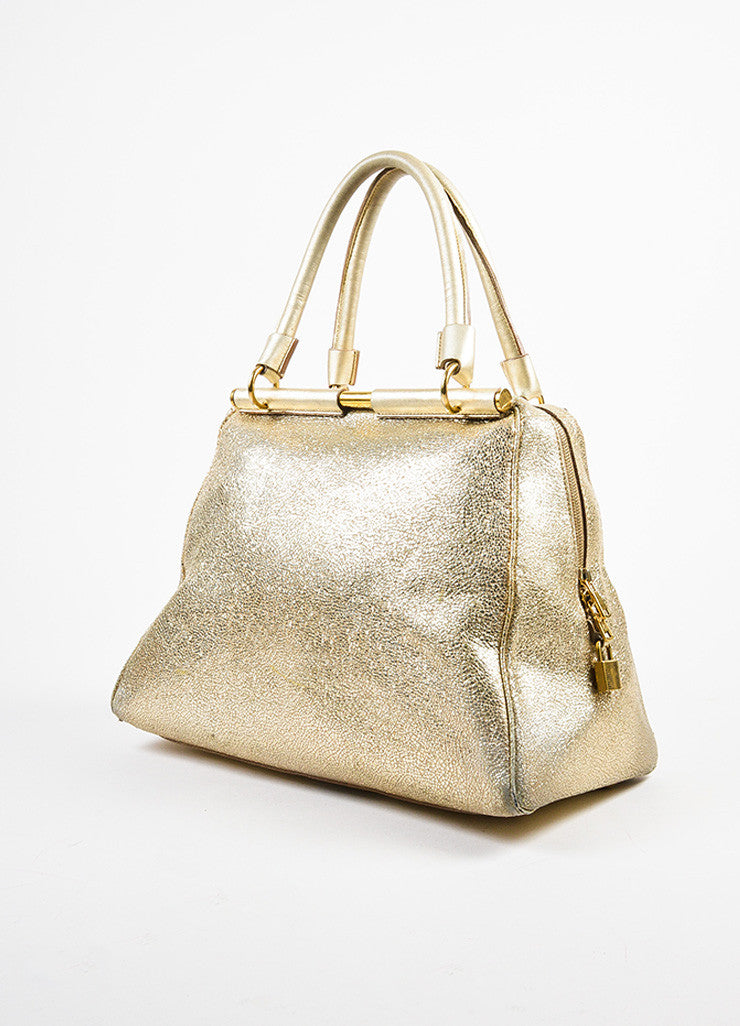 "Yves Saint Laurent Metallic ""Volcano"" Gold Leather ""Medium Majorelle"" Tote Bag Sideview"