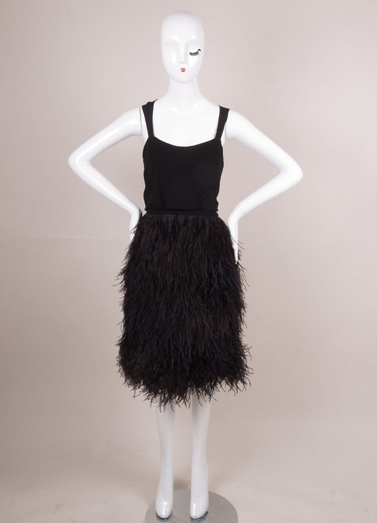 New With Tags Black Sleeveless Feather Skirt Dress