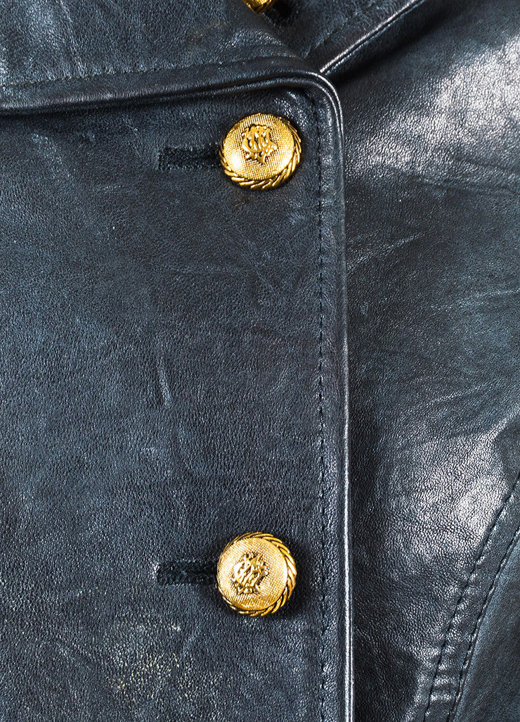 B&W Black Leather Gold Tone Button Double Breasted LS Jacket Detail
