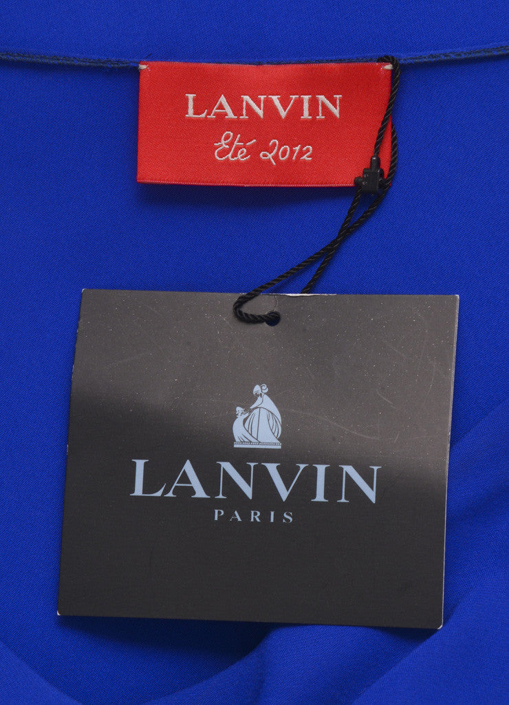 Lanvin Royal Blue Silk Draped Ruched Dress Brand