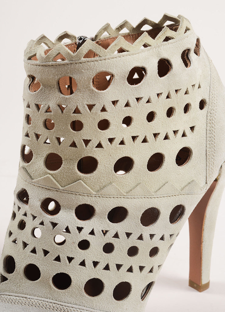 Alaia Cream Suede Cut Out Zip Heeled Ankle Boots Detail