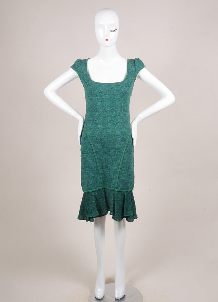 Alaia Green and Blue Metallic Knit Ruffle Trim Paneled Cap Sleeve Dress Frontview