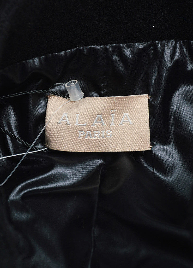 Black Alaia Wool Zip Front Structured Jacket Brand