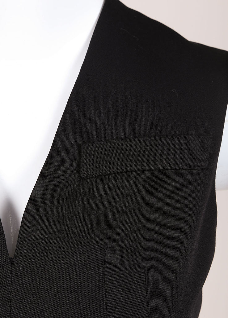Alexander McQueen Black Sleeveless Wool Mini Suiting Dress Detail