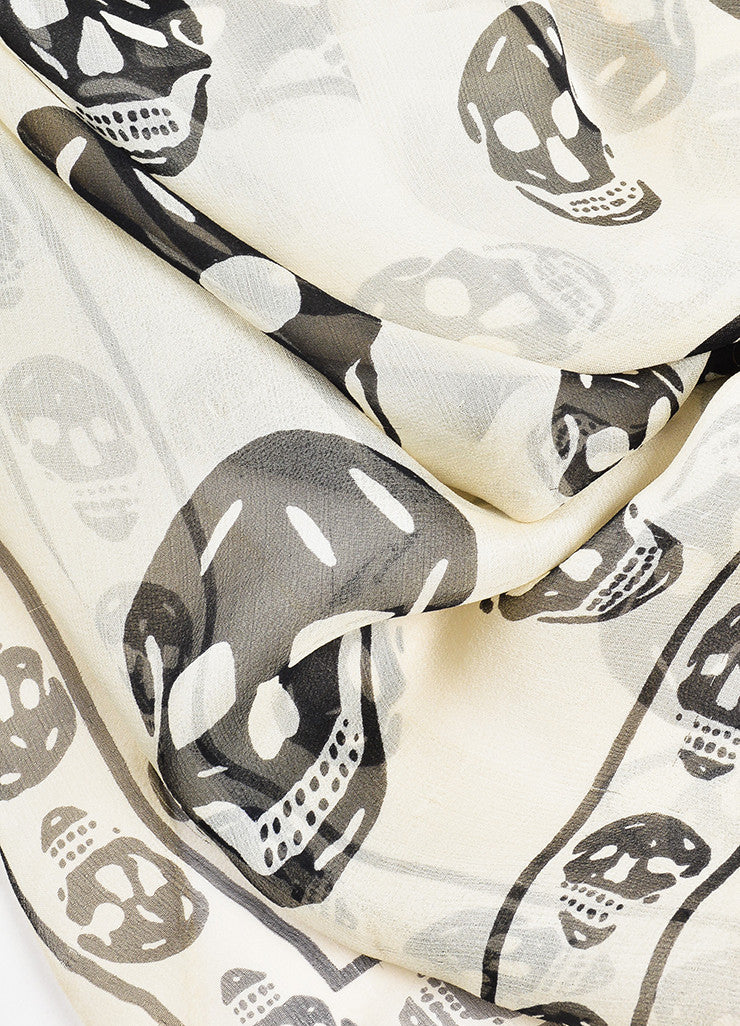 Alexander McQueen Cream and Black Silk Skull Print Sheer Scarf Detail