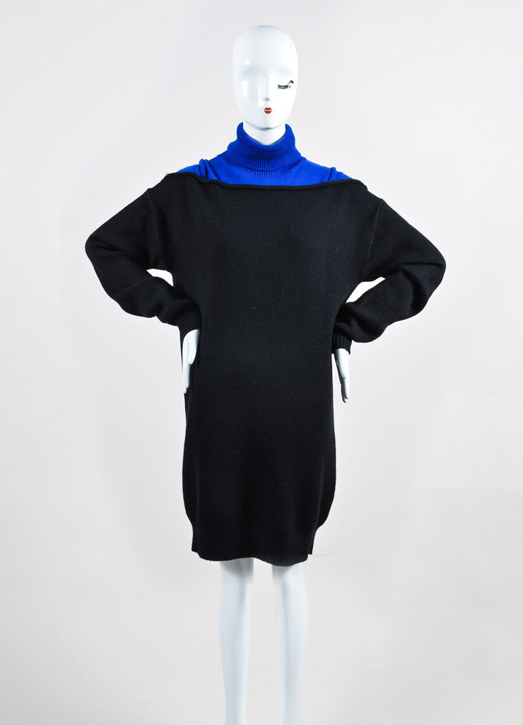 "Black and Cobalt Alexander Wang Wool Turtlenck ""Splittable"" Sweater Dress Frontview"