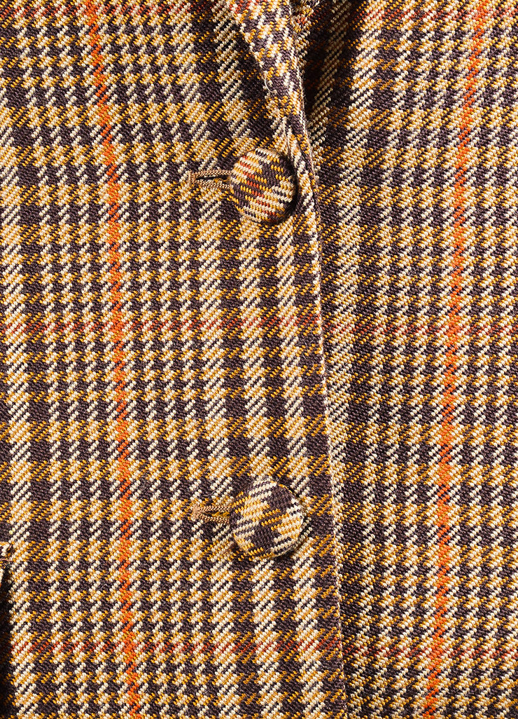 "Brown, Tan, and Orange Altuzarra Houndstooth ""Cooper"" Long Coat Detail"