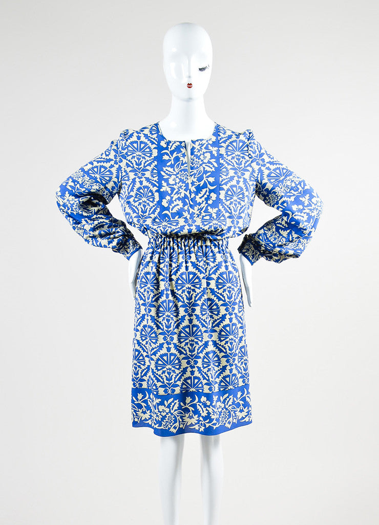 Royal Blue and Cream Andrew Gn Silk Floral Print Long Sleeve Dress Frontview