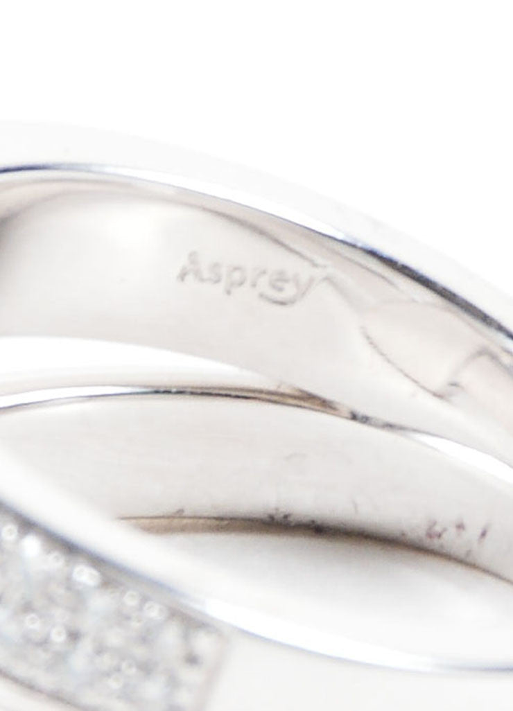 "Asprey of London 18K White Gold Pave Diamond Signature ""A"" Ring Brand"