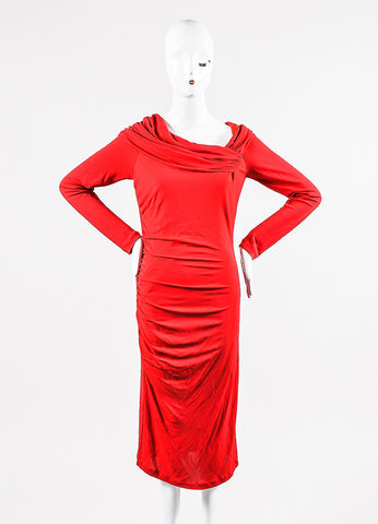 Red Badgley Mischka Stretch Jersey Crepe Long Sleeve Ruched Dress Front 2