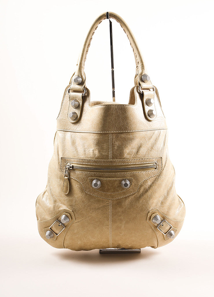 Balenciaga Tan Lambskin Studded Tote Bag Frontview