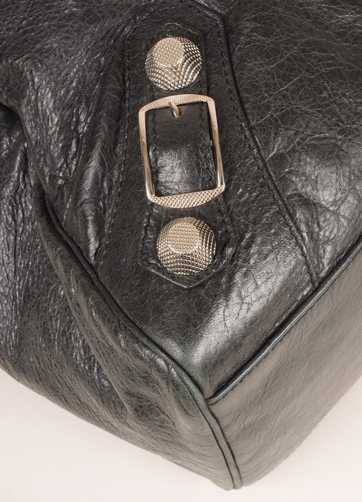"Balenciaga Black Crinkle Leather Studded ""Arena Work"" Bag Detail"