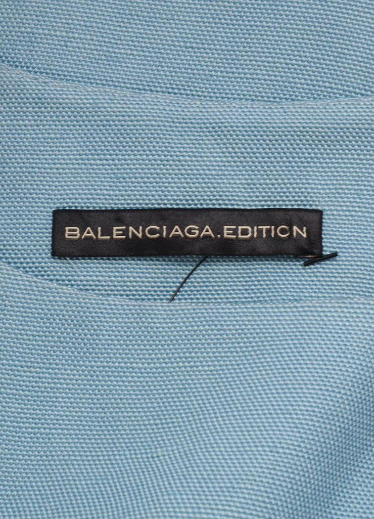 Balenciaga Edition Light Blue Woven Sleeveless Sheath Dress Brand