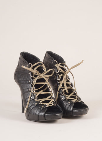 Balmain Black Leather Lace Up Peep Toe Booties Frontview