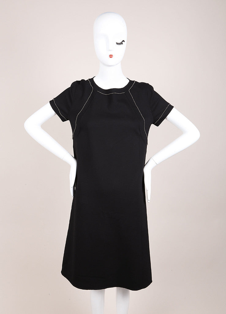 Bottega Veneta New With Tags Black Wool Short Sleeve Beaded Shift Dress Frontview
