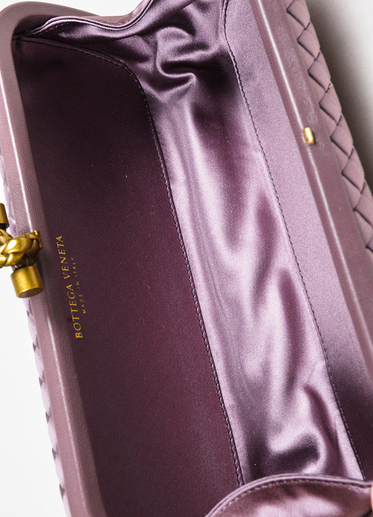 "Bottega Veneta Purple Woven Satin Leather Trim ""The Knot"" Clutch Bag Interior"