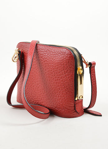 "Burberry ""Military Red"" Leather Heritage Grain Small Harrogate Cross Body Bag Sideview"