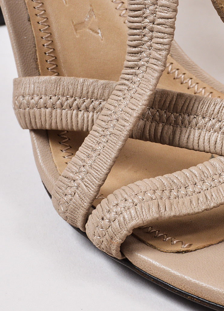 Burberry Beige Leather Ruched Strap Sandal Heels Detail