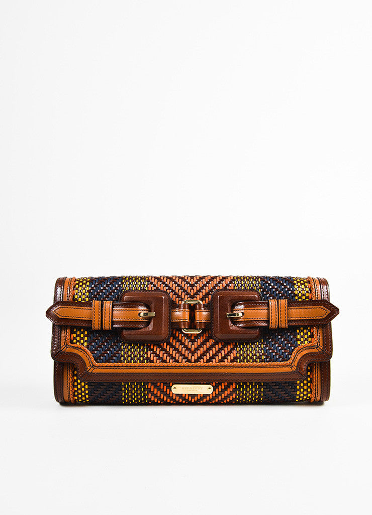Burberry Prorsum Brown and Multicolor Leather Woven Gold Toned Buckle Flap Clutch Bag Frontview