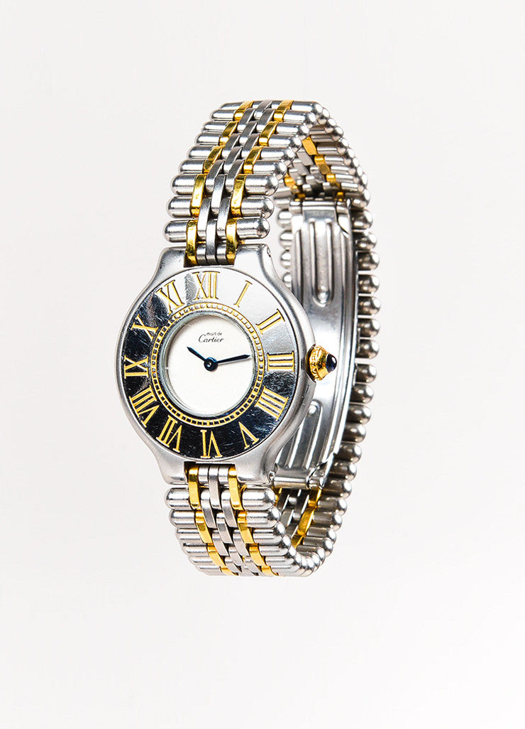 "Cartier Stainless Steel and 18K Gold ""Must de Cartier"" Roman Numeral Quartz Watch Sideview"