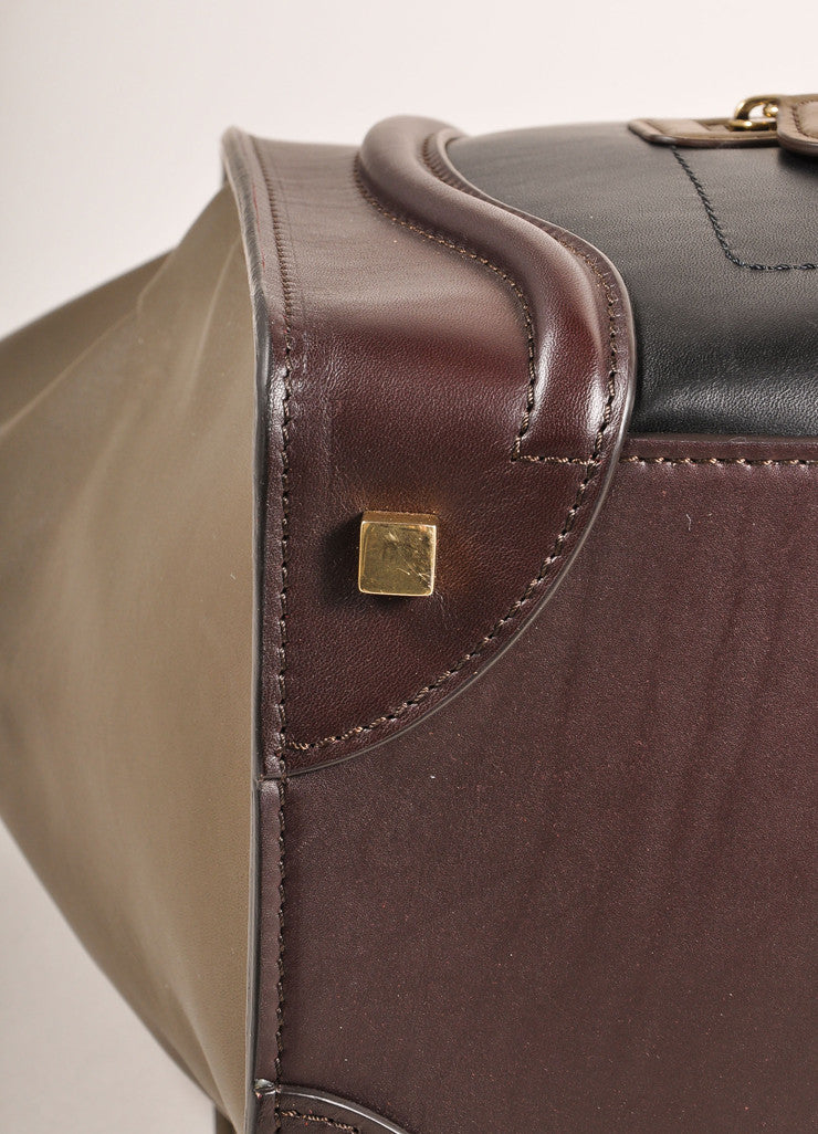 "Celine $3100 Brown Black Taupe Gray Tri Color Leather Mini ""Luggage"" Tote Bag Bottom Detail"