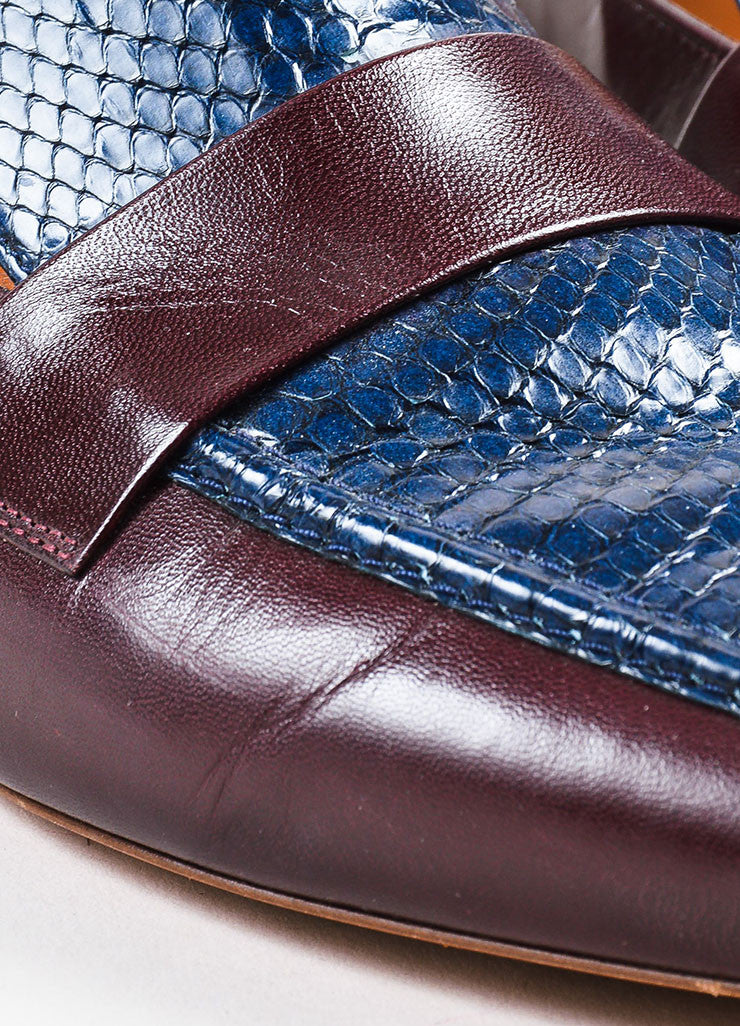 Celine Burgundy Red and Navy Blue Leather and Snakeskin Pointed Flat Loafers Detail