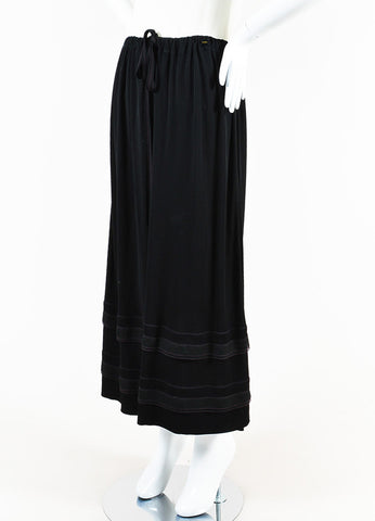 Chanel Black Jersey Ruffle Hem Drawstring Maxi Peasant Skirt Sideview