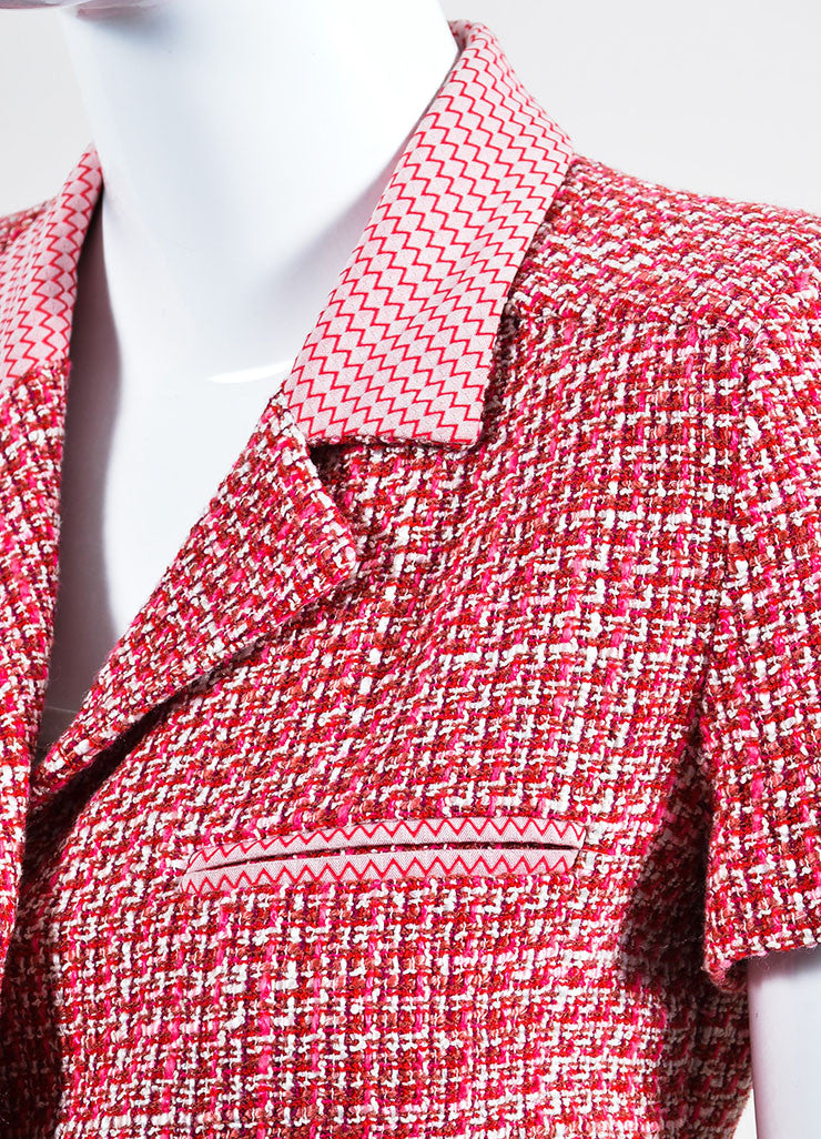 Pink Chanel Wool and Cotton Blend Tweed Short Sleeve Tailored Jacket Detail