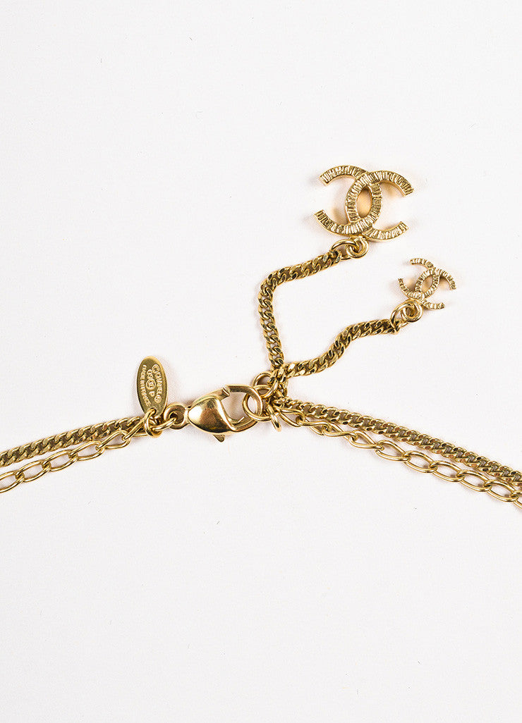 Gold Tone Chanel Double Mixed Link Chain 'CC' Logo Pendant Necklace Detail 2