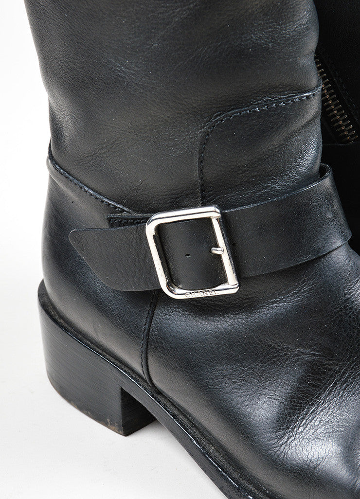 Black Leather and Silver Chanel 'CC' Harness Biker Boots Detail
