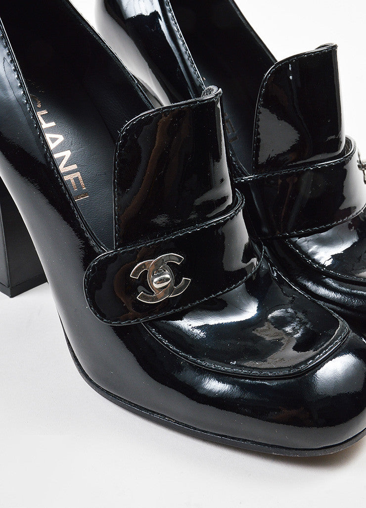 Black Chanel Patent Leather Block Heel Loafers Detail