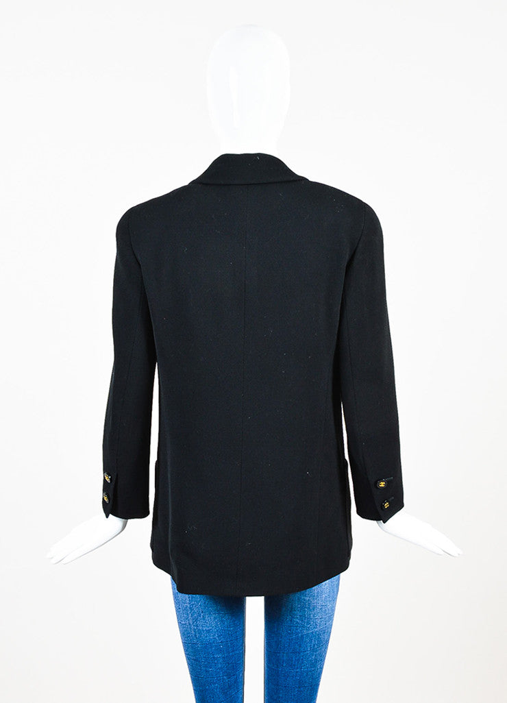 Chanel Black Twill Notch Lapel Double Breasted Blazer Backview