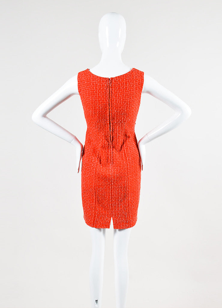 Red and Pink Chanel Boucle Tweed Sleeveless Sheath Dress Backview