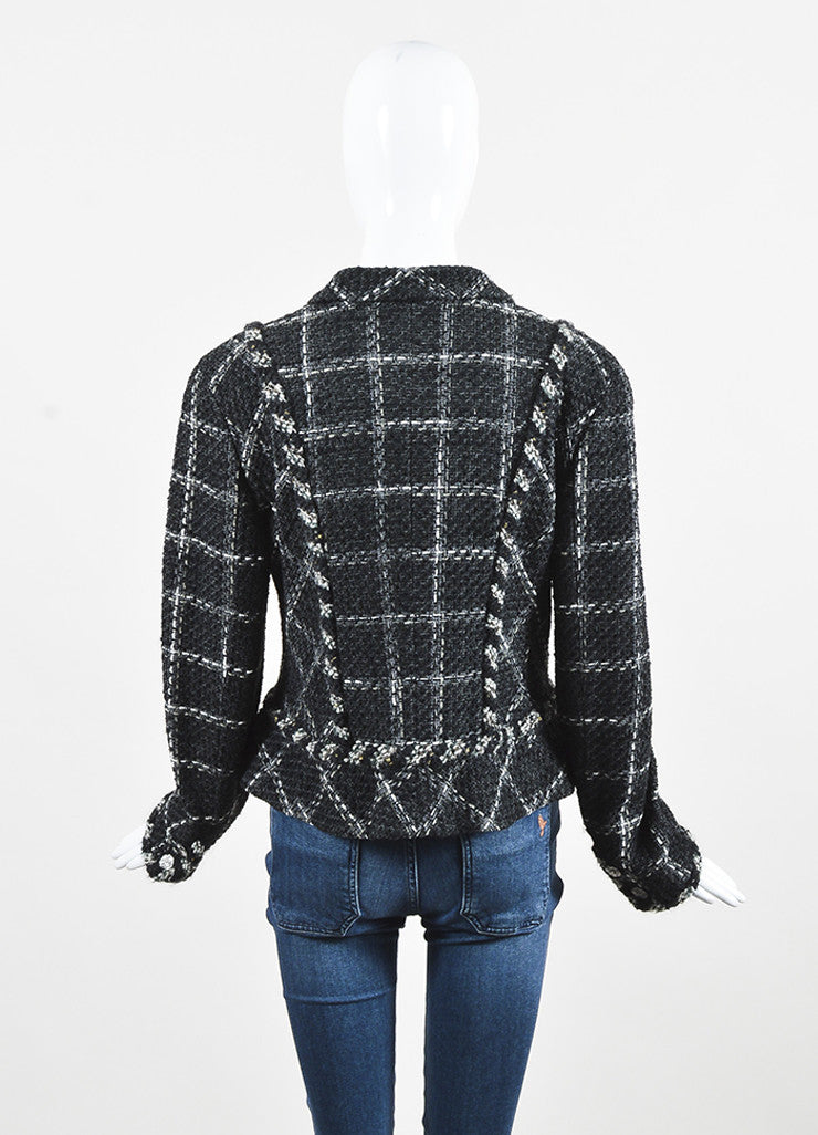 Chanel Charcoal Black White Metallic Gold Check Tweed Jacket Backview